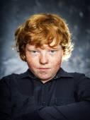 Fat freckled boy portrait — Stock Photo