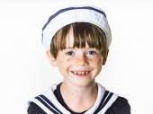 Cute little boy dressed in sailor suit — Stock Photo