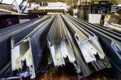 Window fiberglass profile manufacturing plant — Stock Photo