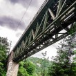 High railway bridge over the mountains river — Stock Photo #55867241