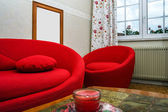Red round sofa — Stock Photo