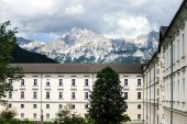 Big abbey buiilding in austrian Alps — Stock Photo