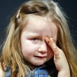 Crying blond little girl with focus on her tears — Stock Photo #61591055