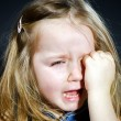 Crying blond little girl with focus on her tears — Stock Photo #61591063
