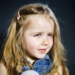 Crying blond little girl with focus on her tears — Stock Photo #61591075