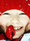 Smiling cute preschooler girl winter portrait — Stock Photo