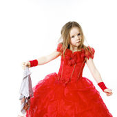 Young cinderella dressed in red with dirty cloth — Stock Photo