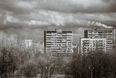 Bird-fly Moscow city view. Old district — Stock Photo