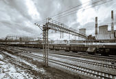 Perspective railway view, cloudy day — Stock Photo