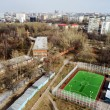 Moscow aerial tilt-shift panorama, small football stadium — Stock Photo #69851057