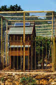 Solar-cell on the roof of chicken house — Stock Photo