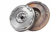 New and old rusty damping flywheels for automotive diesel engines on a white. car parts — Stock Photo