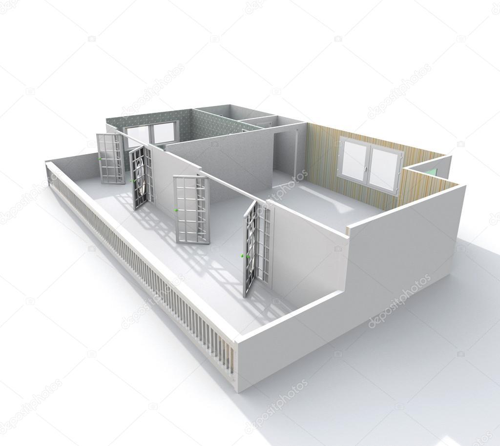 3d interiör rendering pappersmodell av tom hem lägenhet ...