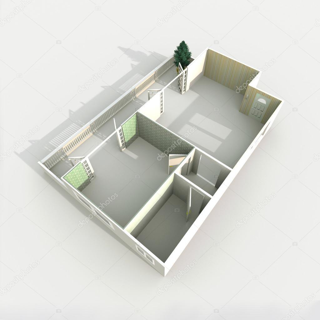 3d 인테리어 종이 모델 홈 아파트 — 스톡 사진 ...