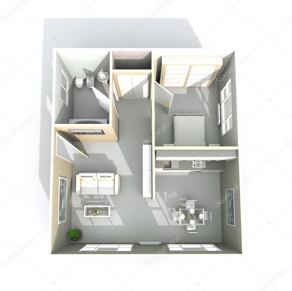 3d interiör rendering av inredda hem lägenhet: rum, kök, sovrum ...