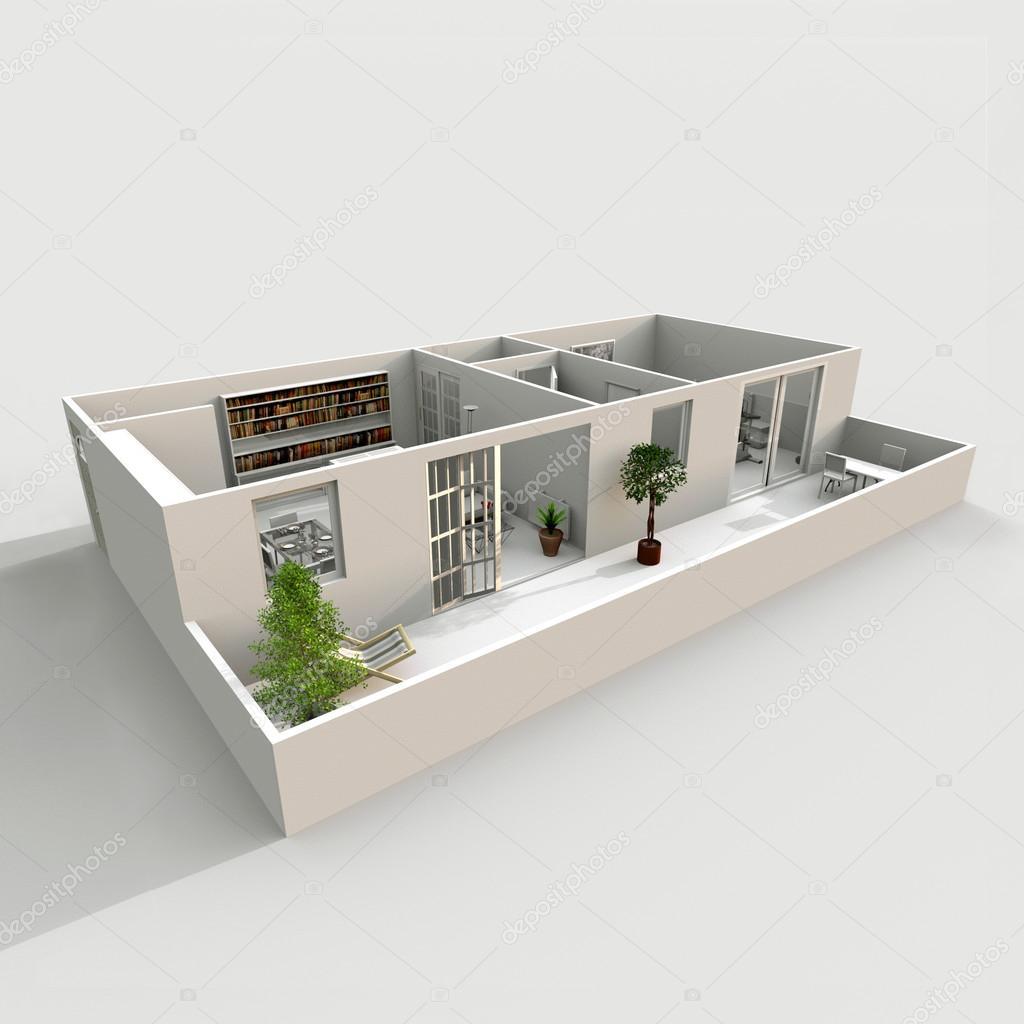 Rendering 3d interni di appartamento arredato casa con for 3 piani casa casa camera da letto