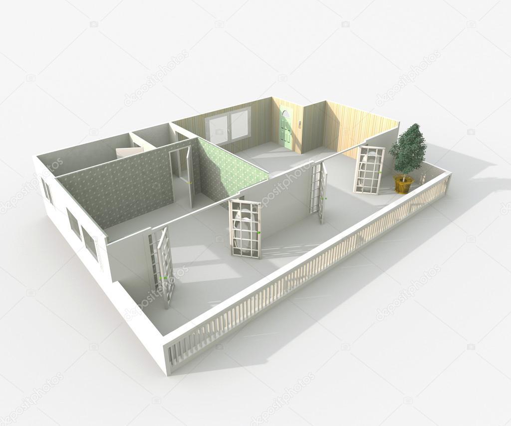 3d interiör rendering av hem utan tak lägenhet med väggmaterial ...