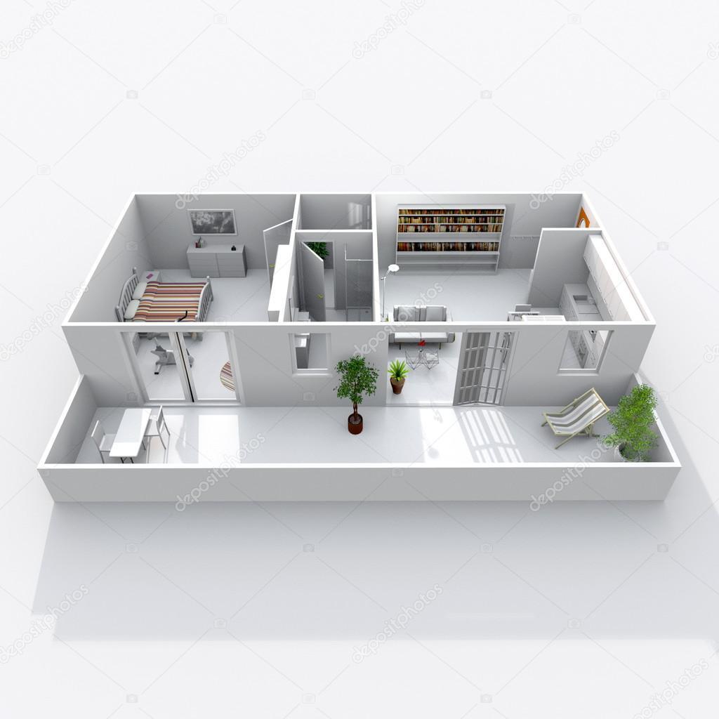 Rendering 3d interni di casa obliquo appartamento con for 3 piani di casa bagno 1 camera da letto