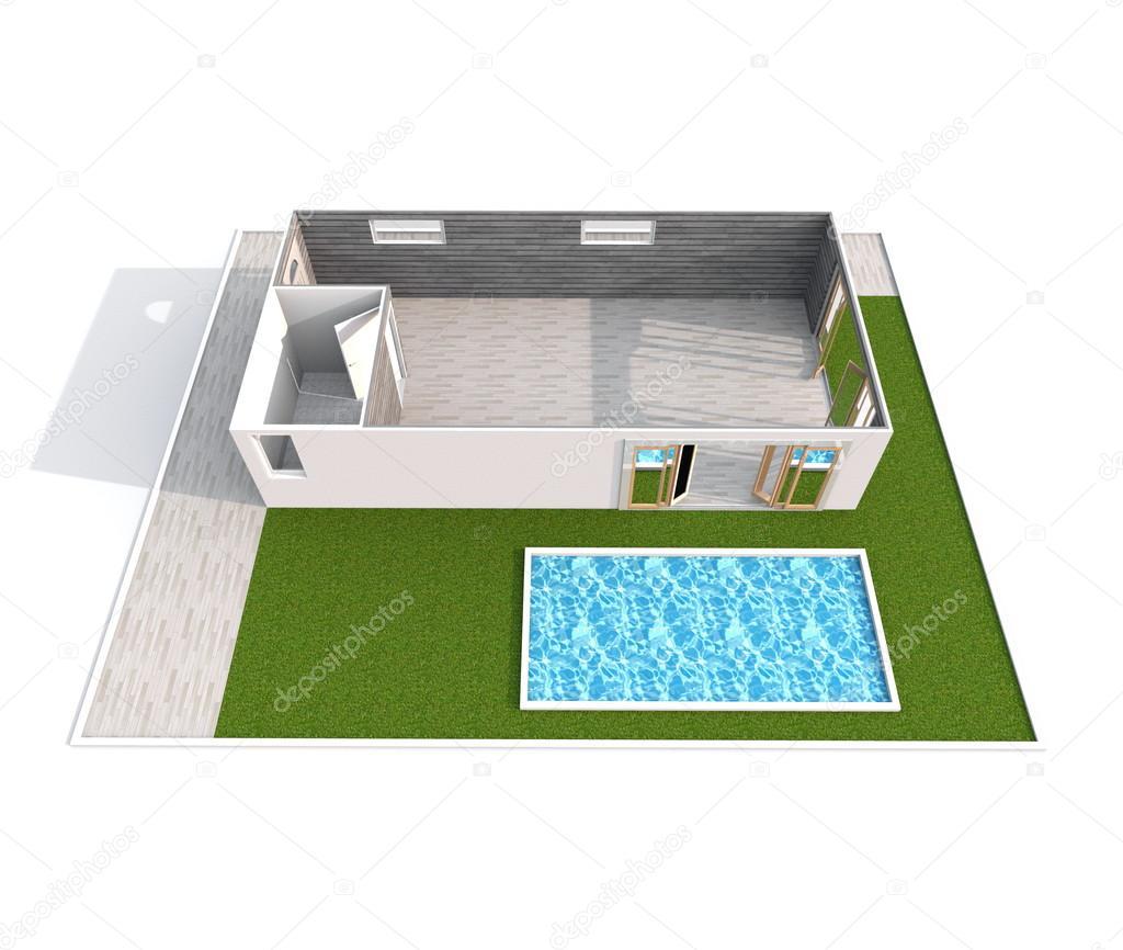 rendu 3d d 39 int rieur de vide oblique appartement maison avec piscine et jardin chambre salle. Black Bedroom Furniture Sets. Home Design Ideas