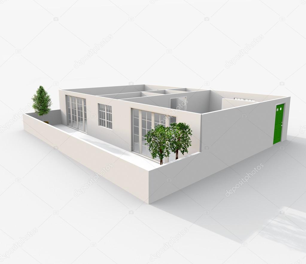 3D-rendering av liten lägenhet med balkong och växter: rum, badrum ...