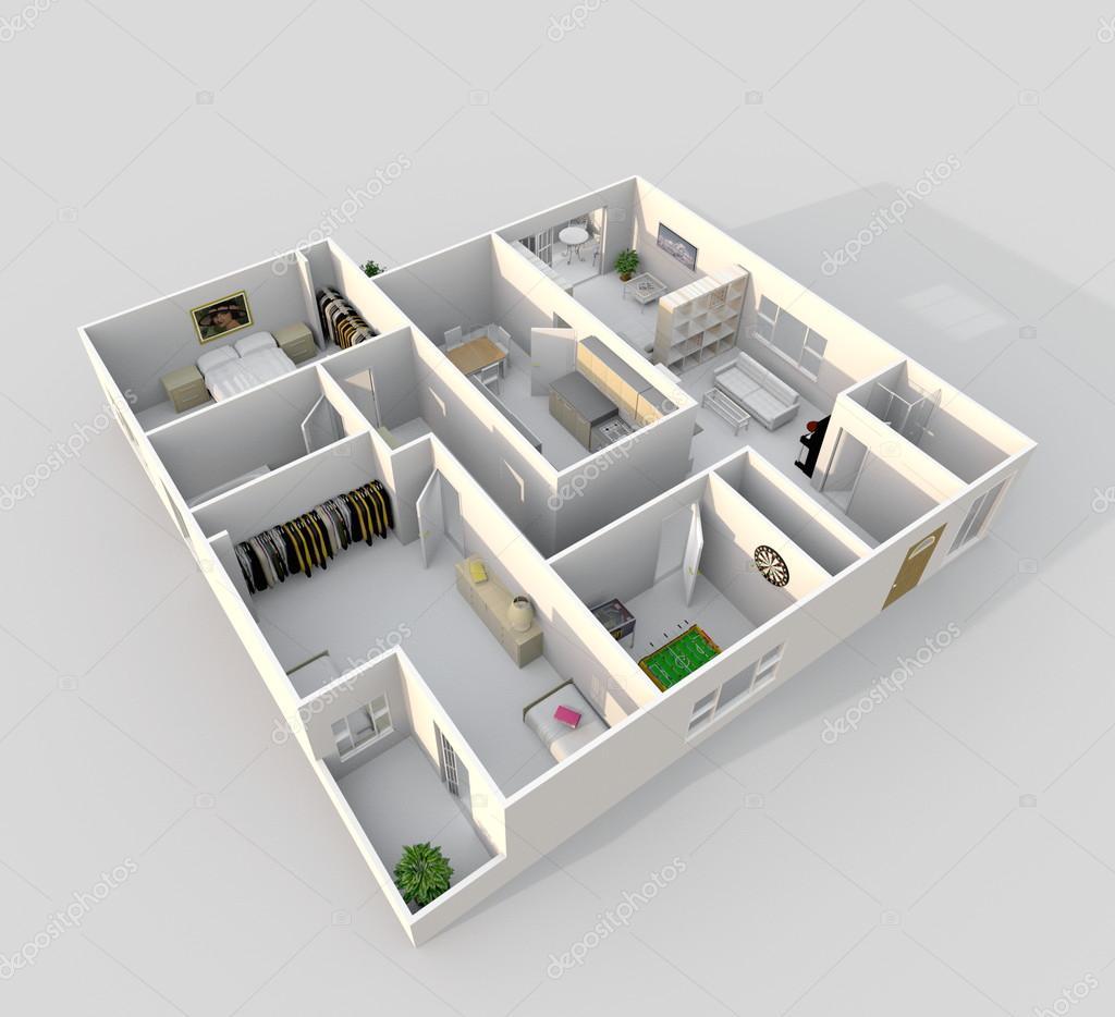 3d inredning rendering sneda syn på inredda hem lägenhet ...