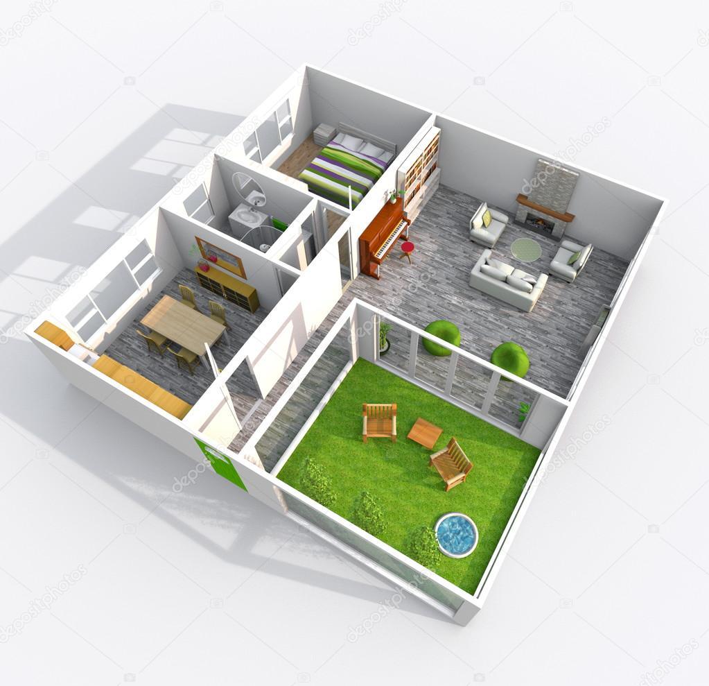 정원 안뜰 가구 지붕이 아파트의 인테리어 3d 렌더링 — 스톡 ...