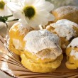 Cream puff or profiterole cakes — Stock Photo #57656579
