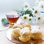 Cream puff or profiterole cakes — Stock Photo #57656775