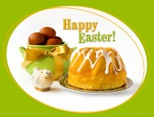 Happy Easter greeting card - easter cake (bread) with flower — Stock Photo