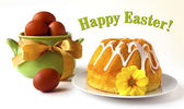 Vintage Easter card - Easter cake and eggs — Stock Photo