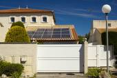 Solar panels on the roof of a private house. — Stock Photo