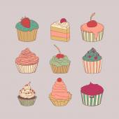 Set of 9 different delicious cupcakes vector illustration in pastel colors — Stock Vector