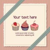 Scrapbooking card with cupcakes — Stock Vector