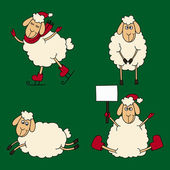 New year set of the sheeps and lambs on a green background — Stock Vector