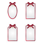 Set of different tags with silk bows — Stock Vector