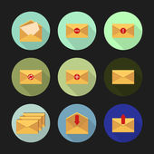 Set of flat icons for messages. Vector illustration. — Vector de stock