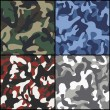 Set of seamless camouflage fabric patterns — Stock Vector #61879589