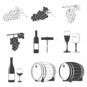 Wine icons set — Stock Vector