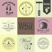 Vintage Wine Emblems Collection — Stock Vector