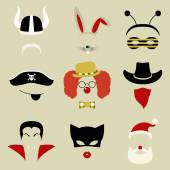 Retro Party set for photo booth and scrapbooking - viking, rabbit, bee, pirate, clown, cowboy, Dracula, cat, Santa Claus — Stock Vector