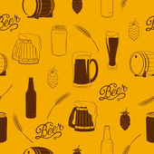 Vector seamless pattern with beer icons. — Stock Vector
