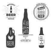 Vintage beer emblems, labels and design elements. Typography illustrations. For example, it can be printed on t-shirts — Stock Vector