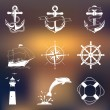 Set of vintage nautical labels, icons and design elements — Stock Vector #64702085