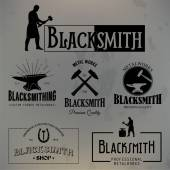 Set of vintage blacksmith labels and design elements — Stock Vector