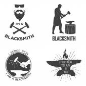 Vintage monochrome blacksmith badges and design elements for t-shirt print. — Stock Vector