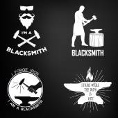 Vintage monochrome blacksmith badges and design elements. For example, it can be printed on t-shirts. — Stock Vector