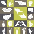 Icons set of hands showing different gestures — Stock Vector #65467335