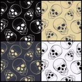 Vector  seamless patterns with skulls — Stock Vector