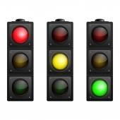 Set of Vector Traffic Lights isolated on white — Stock Vector