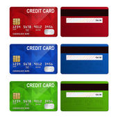 Set of realistic credit card two sides isolated on white background. — Stock Vector